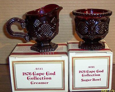 AVON 1876 CAPE COD COLLECTION RUBY RED  CREAMER AND SUGAR