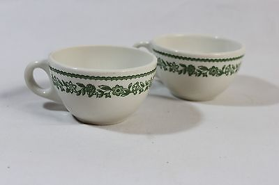 2 Buffalo China Cups Green Flower Restaurant Ware     FC