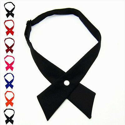 Fashion Womens Girls Men Boy Solid Color Party Wedding Bowties Bow Ties Necktie