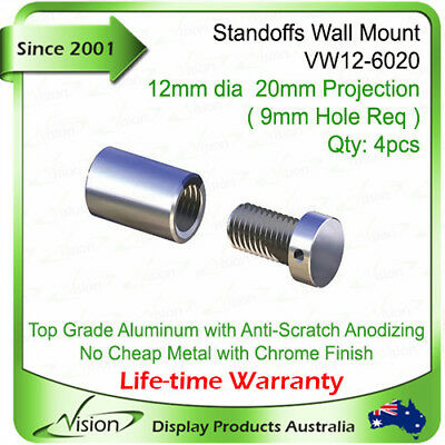 4x Aluminium Standoffs, Stand Off Sign Fixing,Signage Support, Panel Through