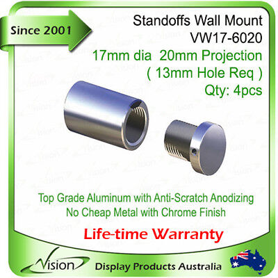 4 x Wall Mounted Aluminium Standoffs Poster Display Sign Holder Signage Fixings