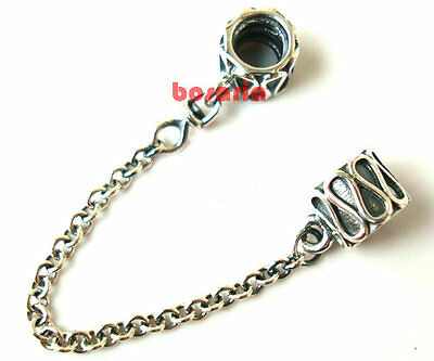 925 Sterling Silver Curve Safety Chain Fit European Bead Charm Bracelet