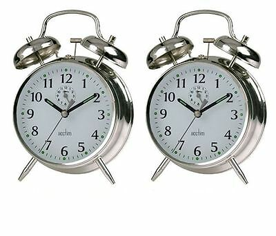 Acctim Saxon Traditional Bell Alarm Clock Chrome - Twin Pack