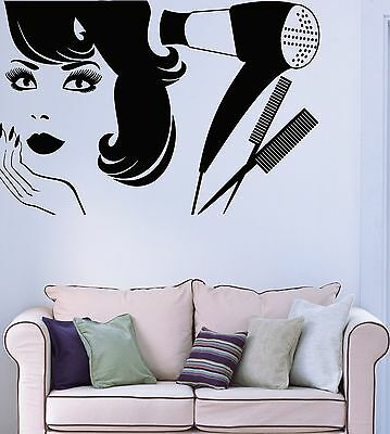 Wall Sticker Vinyl Decal Beauty Salon Barbershop Hair Style Girl (ig1899)