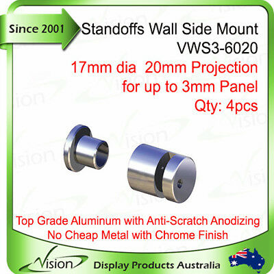 STANDOFFS, Edge-Grip Sign Signage Support, Wall Side Mount 20mm - for 3mm Panel