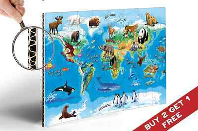 ANIMAL MAP OF THE WORLD MAP A4 Poster For Children and Kids Educational Fun Deco