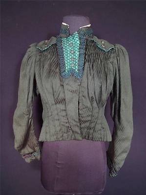 Rare Antique French Victorian Green Brocade Wool & Silk Bodice Blouse Size Small