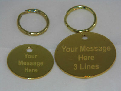 Engraved Brass Pet Tag. 22/30mm tags with split ring. Horse Tack, Pony Tack Tag