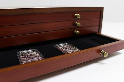 COIN CHEST w/ 4 REMOVABLE DRAWERS - HOLDS 56 AIRTITE SILVER BAR HOLDER CAPSULES