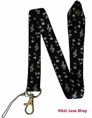 Music Notes Neck Lanyard Strap Mobile Phone, ID Card, Keys - NEW