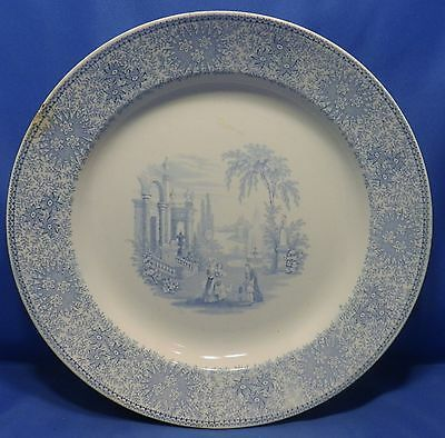 """Antique, about 1860, W. Adams Isola Belle pattern transfer ware china 10"""" plate"""