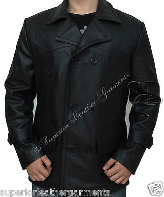 German Submariner WW2 Vintage Cowhide Black Men's Leather Coat