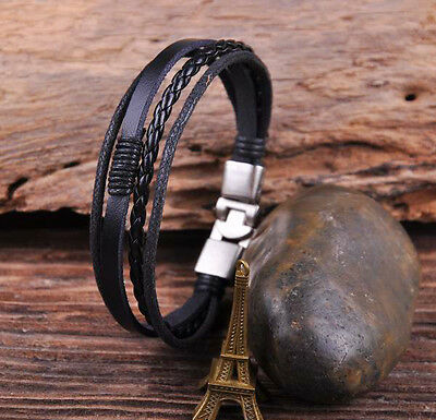S532 Black Cool Leather & Hemp Hand Braid Bracelet Wristband Men's Cuff Silver