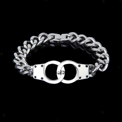 Silver Stainless Steel Men's Double Handcuff Cuban Curb Link Chain Cuff Bracelet