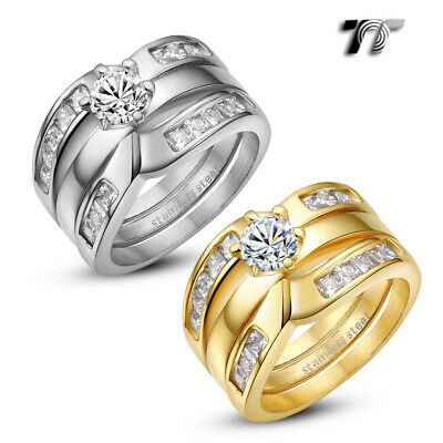 Luxury TT Princess Cut THICK Stainless Steel Engagement Wedding Band Ring (R335)