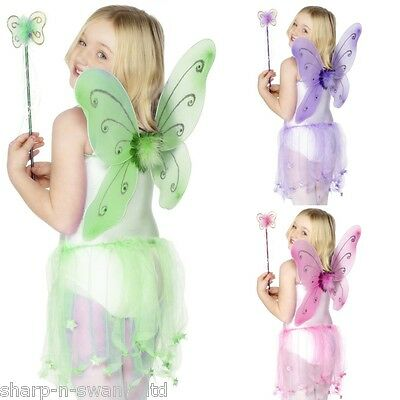 Girls Butterfly Fairy Princess Wings & Wand Party Fancy Dress Costume Outfit