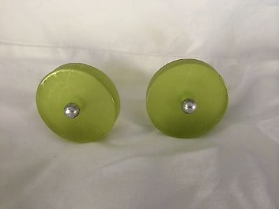 2 Green Acrylic Drawer Pulls/knobs
