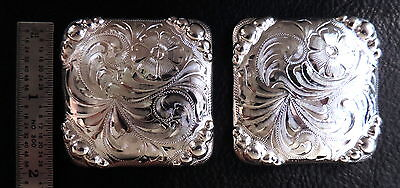 """2 - 2"""" Square Silver Hand Engraved Conchos w/Graduated Beads"""