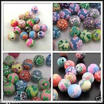 Mixed Assorted Round Fimo Polymer Clay Beads Flower Size 6mm,8mm,10mm,12mm,15mm