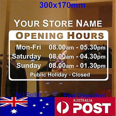 OPENING TRADING HOURS sticker shop sign custom text Vinyl sticker 30x17cm
