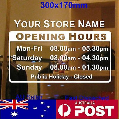 OPENING TRADING HOURS sticker shope sign custom text Vinyl sticker 30x17cm