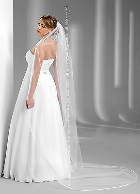 Wedding Cathedral Plain Veil Satin Edge Comb Attached W-98