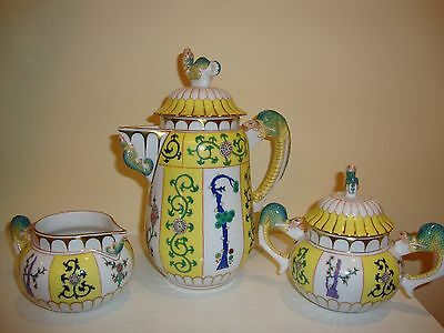 HEREND YELLOW DYNASTY SJ Mandarin Style Lizard Handles and Spout Coffee Set