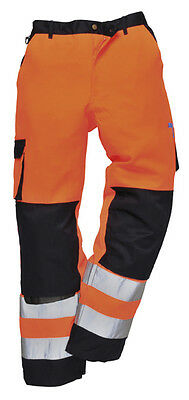 Hi Vis Traffic Trousers Tx51 High Visibility Safety Work 2 Tone Trouser Orange