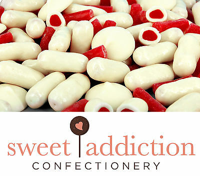500g Premium REAL White Chocolate Covered Raspberry Bullets - Bulk Candy Buffet