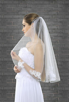 "1 Tier White/Ivory Wedding Bridal Elbow Veil With Comb 28"" Lace Details"