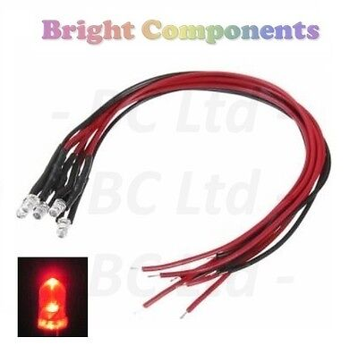 5x Flashing Pre-Wired Red LED 3mm Ultra Bright : 9V ~ 12V : 1st CLASS POST