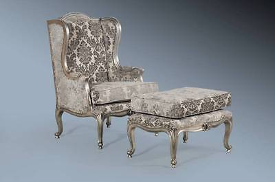 Mahogany French Boudoir Antique Silver Leaf Grey Damask Wingback Chair & Stool
