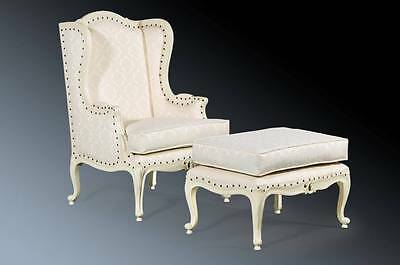 Large Mahogany Quality French  Antique White Shabby Chic Armchair Wingback Chair