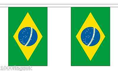 Brazil Polyester Flag Bunting - 3m long with 10 Flags