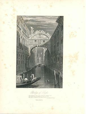 Canal and Bridge of Sighs Venice Italy c.1860 fine antique engraved view