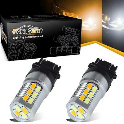 2pcs Switchback 3157 Amber/White Dual Color 22-5730 LED Front Turn Signal Lights