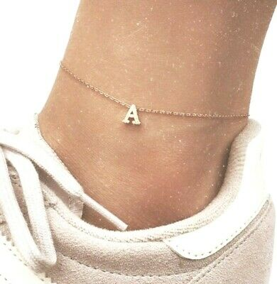 Sexy Anklet Foot Chain Ankle Bracelet Jewellery-Simple Gold Tone Initial Anklet