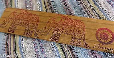 Beautiful Handmade Timber Wood Screen Printed Colourful Wide Bookmark Rrp $3.00