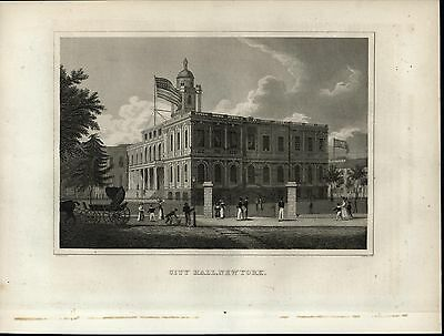 City Hall New York Horse Carriage Flag nice 1834 early American engraved print