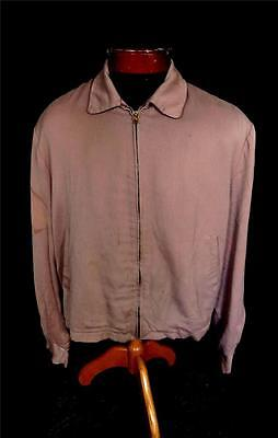 Rare Vintage 1950's Light Brown Rayon Gabardine Zipper Jacket Size Large