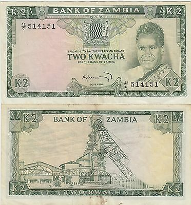 """Zambia 2 Kwacha Banknote 1968 Extra Fine Condition Cat#6-A-4151""""Scarce Note""""!"""