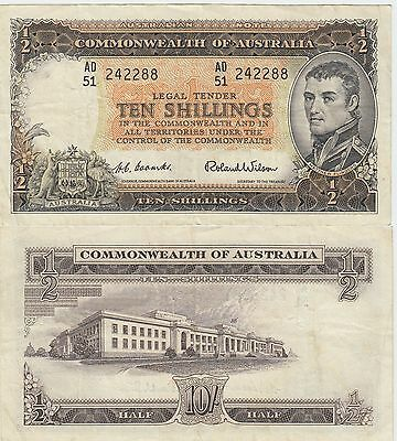 Australia 10 Shillings Banknote 1954-1960 Nice Very Fine Condition Cat#29-A-2288