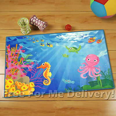 WHIZZ KIDS VIVID UNDER THE SEA FUN FLOOR RUG 80x120cm **FREE DELIVERY**
