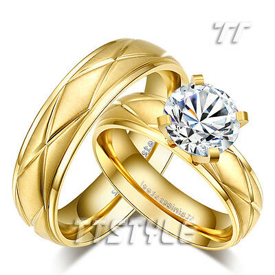 TT 14K Gold GP Brushed Stainless Steel Engagement Wedding Band Ring For Couple