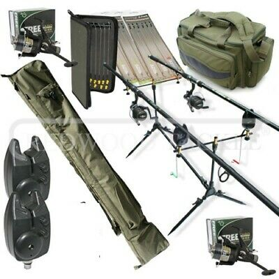 Carp fishing Tackle Set Up Complete 2 x Rods Reels Alarms 3+3 & Holdall+Rigs