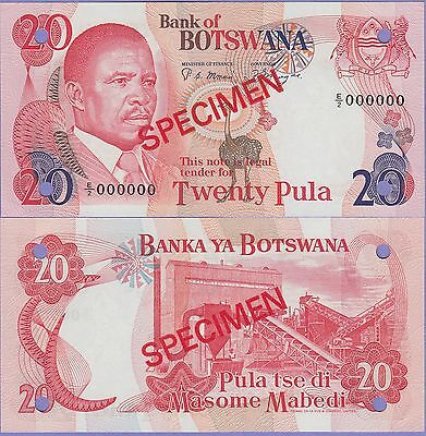 Botswana 20 Pula Specimen Banknote 1982 Uncirculated Condition Cat#10-S-1-E/2