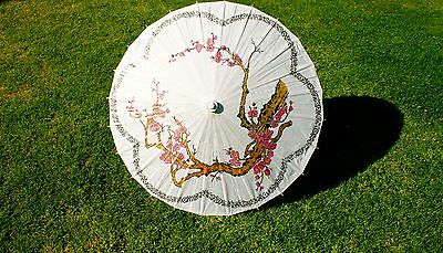 Paper Parasol. Paper Umbrella. Pink Cherry Blossoms.