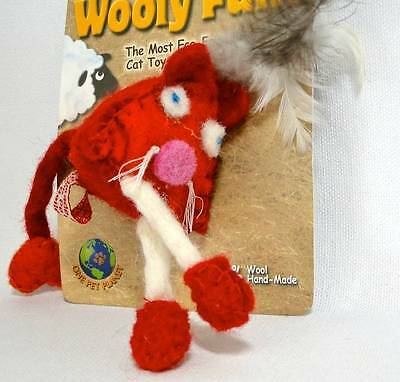 """""""NWT"""" Wooley Fun Colored Pyramid Mouse - Organic Catnip Cat Toy Total Fun"""