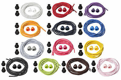 Elasticated Lock Shoelaces for Sports Laces Running Trainers Triathlon Kids PE