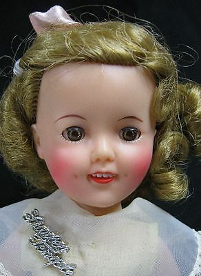 "Vintage 1950's Ideal Shirley Temple Doll 12"" Tall With Name Tag & Yellow Dress"